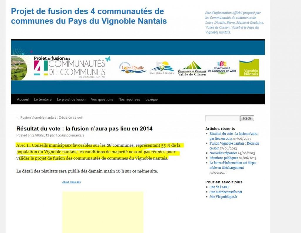 La Fusion n'aura pas lieu en 2014 !!! dans L'Intercommunalité fusion